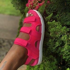 Women's Bright Pink Mesh Sandals.
